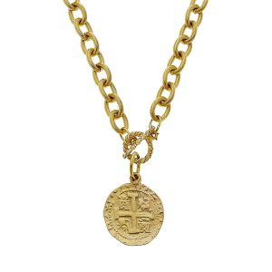 Cross Coin Chain Necklace