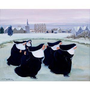 Nuns Ice Skating by Loxton Christmas Card