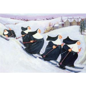 Nuns Skiiing by Loxton Christmas Card