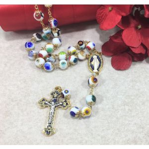 White Murano Glass Rosary