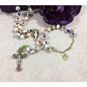 MS25 White Murano Glass Rosary