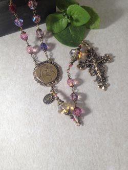 8mm swarovski pink purple rosary