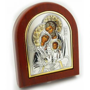 Holy Family Silver Icon 3x3