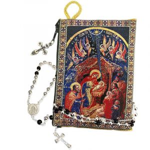 Nativity Icon Tapestry Rosary Pouch