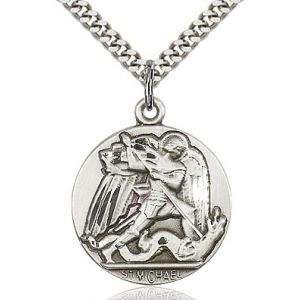 St. Michael Sterling Medal Necklace 24''