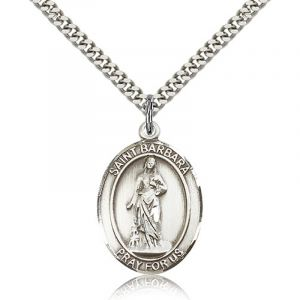 St Barbara Sterling Medal Necklace 18''