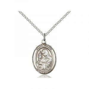St Clare of Assisi Sterling Medal Necklace 18''