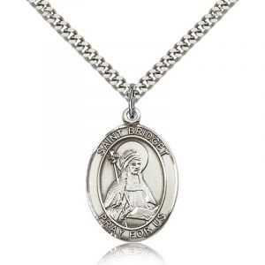 St Bridget of Sweden Sterling Medal Necklace 18''