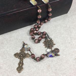 Bronze Pink Czech Glass Swarovski Rosary