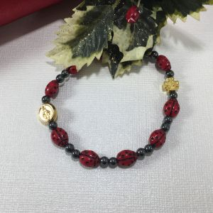 ACM8 Ladybug Stretch Rosary Bracelet
