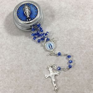 4mm Blue Miraculous Rosary w/Round Box from Italy