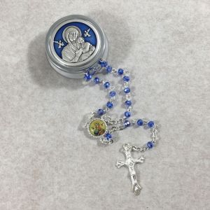 4mm Perpetual Help Rosary w/Round Box from Italy