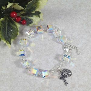 ACM19 Swarovski Crystal Cube Rosary Bracelet