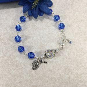 ACM27 Sapphire Swarovski Crystal Rosary Bracelet