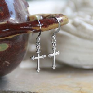 Classic Cross Silvertone Earrings