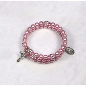 Pearl Wrap Rosary Bracelet - Pink