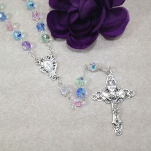 Multicolored Pastel Czech Glass Rosary