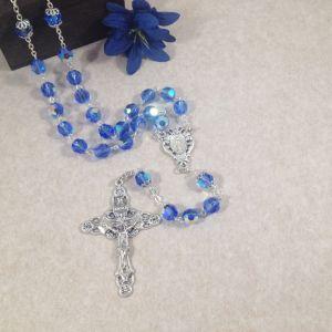 8mm Sapphire Czech Glass Rosary
