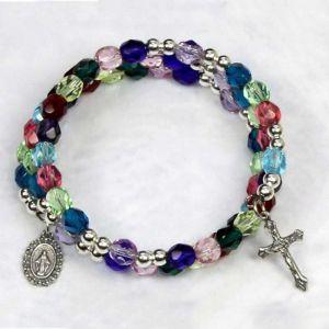 Colorful Multi-Tone Wrap Rosary Bracelet