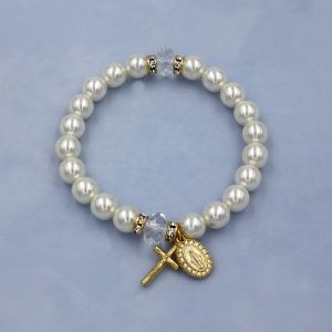 Pearl Miraculous Rosary Bracelet (Gold)