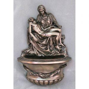 "Bronze Pieta Holy Water Font 10"""