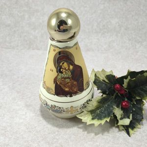 Greek Ceramic Holy Water Bottle (Creme)