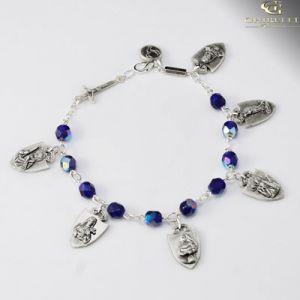 Blue Glass Warriors Rosary Braclet