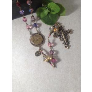 8mm Swarovski Crystal Pink Purple Rosary