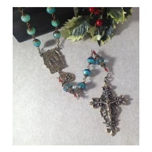 8mm Crystal Bronze Rosary Turquoise