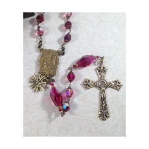 Magenta Swarovski Crystal Rosary