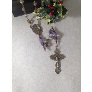8mm crystal Bronze Rosary Purple