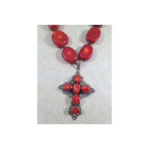 SS Coral Cross Necklace