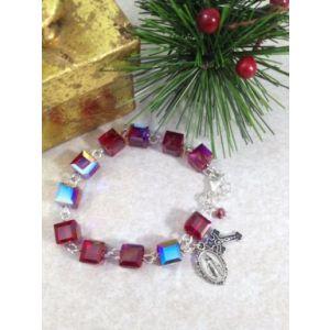 Red Crystal Cube Swarovski Bracelet
