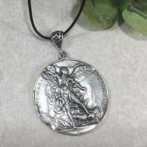 """Sterling Silver Michael Medal on Leather 24"""" Cord"""