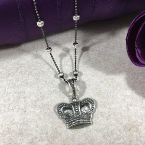 """Sterling Silver Crown Necklace 18"""""""
