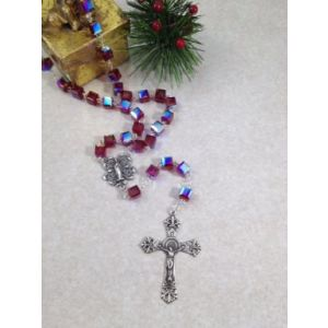 Sterling Silver Red Swarovski Crystal Cube Rosary