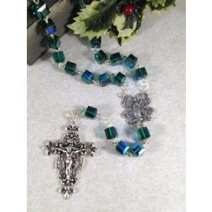 Emerald Swarovski Crystal Cube Rosary