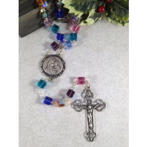 8mm Sterling Silver Dark Swarovski Cube Rosary