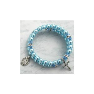 Pearl Wrap Rosary Bracelet - Blue