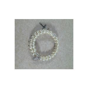 Pearl Wrap Rosary Bracelet - White