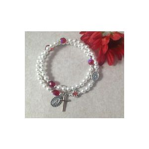 Pearl Ruby Rosary Wrap Bracelet
