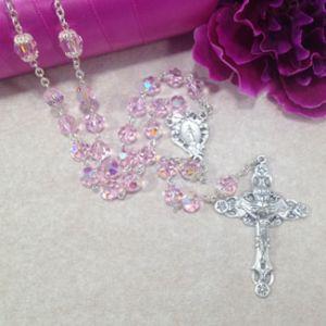 8mm Pink Czech Glass Rosary