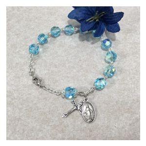 8mm Aqua Czech Glass Rosary Bracelet