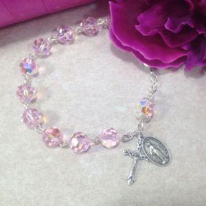 Pink Czech Glass Rosary Bracelet
