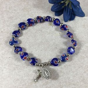 ACM66 Murano Heart Stretch Bracelet