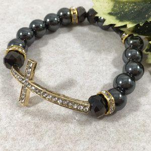 12mm Side Cross Bracelet - Hematite