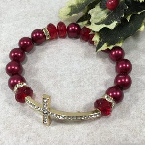 12mm Side Cross Bracelet - Red