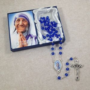 Mother Teresa Blue Crystal Rosary