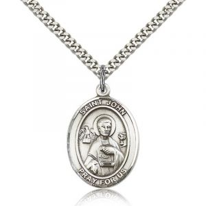 St. John Sterling Medal Necklace 24''