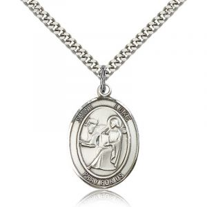 St. Luke Sterling Medal Necklace 24''